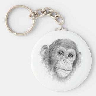 A Chimpanzee, Not Monkeying Around Sketch Keychain