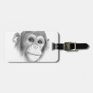 A Chimpanzee, Not Monkeying Around Sketch Luggage Tag