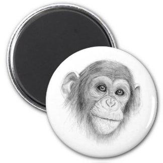 A Chimpanzee, Not Monkeying Around Sketch Magnet