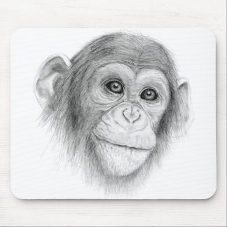 A Chimpanzee, Not Monkeying Around Sketch Mouse Pad
