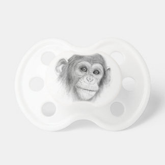 A Chimpanzee, Not Monkeying Around Sketch Pacifier