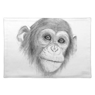 A Chimpanzee, Not Monkeying Around Sketch Placemats