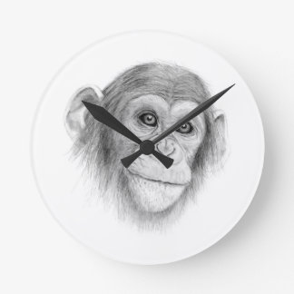 A Chimpanzee, Not Monkeying Around Sketch Round Clock