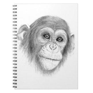 A Chimpanzee, Not Monkeying Around Sketch Spiral Notebook