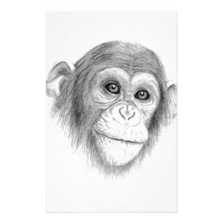 A Chimpanzee, Not Monkeying Around Sketch Stationery