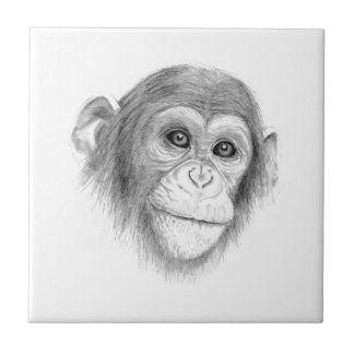 A Chimpanzee, Not Monkeying Around Sketch Tile