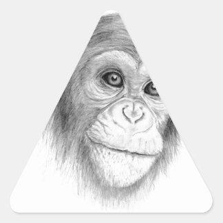 A Chimpanzee, Not Monkeying Around Sketch Triangle Sticker