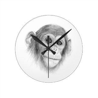 A Chimpanzee, Not Monkeying Around Sketch Wallclocks