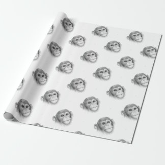 A Chimpanzee, Not Monkeying Around Sketch Wrapping Paper