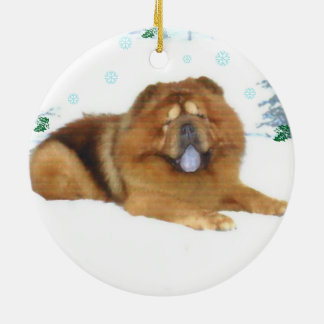 A Chow's snowy Christmas Ceramic Ornament