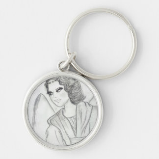 A Christmas Angel Silver-Colored Round Keychain