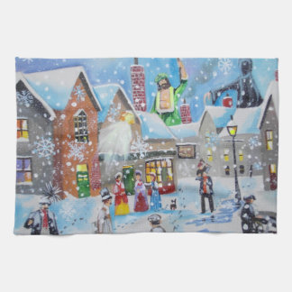 a Christmas Carol Scrooge and the three ghosts Kitchen Towel