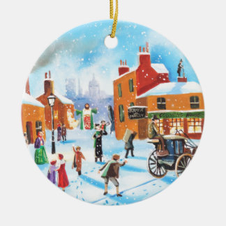 A Christmas Carol Scrooge and Tiny Tim by G Bruce Round Ceramic Ornament