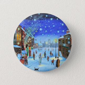 A Christmas Carol Scrooge Winter street scene 2 Inch Round Button