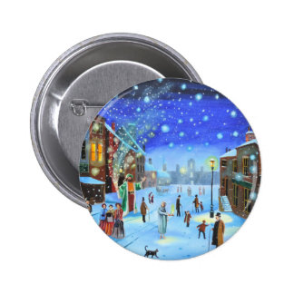 A Christmas Carol Scrooge Winter street scene 2 Inch Round Button