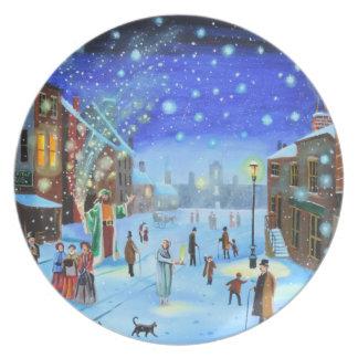 A Christmas Carol Scrooge Winter street scene Plate