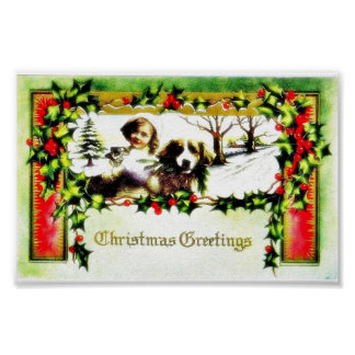A christmas greeting with a girl and a dog poster