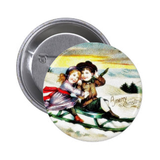 A christmas greeting with a guy and girl snow slad pins