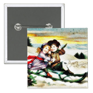 A christmas greeting with a guy and girl snow slad pinback button