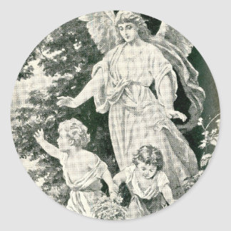~ A Christmas Guardian Angel Painting ~ Classic Round Sticker