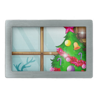 A christmas tree near the window rectangular belt buckles