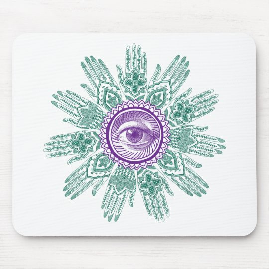 A circle of hands and an Eye Mouse Pad