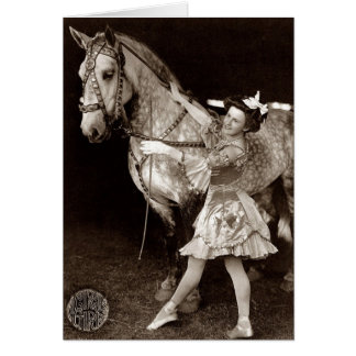 A Circus Girl and Horse Card