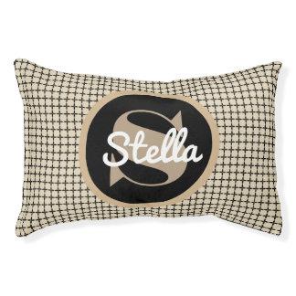 A Classic Beige & Black w/Monogram & Name Pet Bed