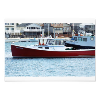 A Close Up of the Red Boat In Wells Harbor Maine Photo Art