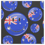 A Cluster of Australian Flag Happy Faces Fabric