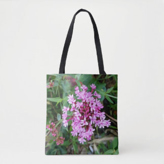 A cluster of pink and purple flowers, original art tote bag