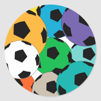 A cluster of soccer balls classic round sticker