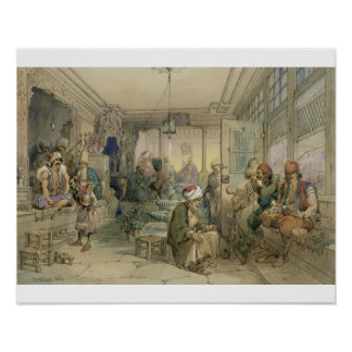 A Coffee House, Constantinople, 1854 (pen & ink & Posters