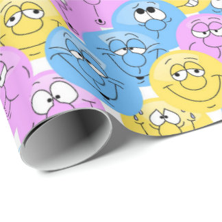 A Collage of Emoji Faces in Pastel Colors Wrapping Paper