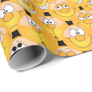 A Collage of Emoji Faces in Yellow Color Wrapping Paper