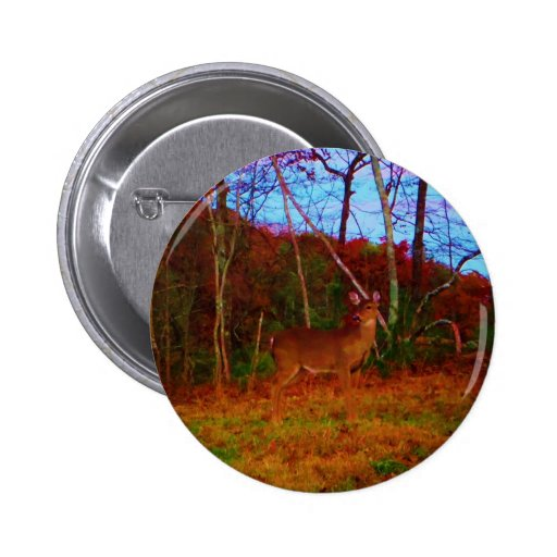 A Colorful Deer at Sunset Pinback Button