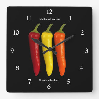 A Colorful Trio of Banana Peppers Square Wall Clock