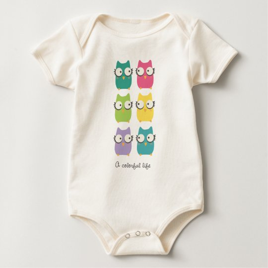 A Colourful Life (owls) for baby Baby Bodysuit