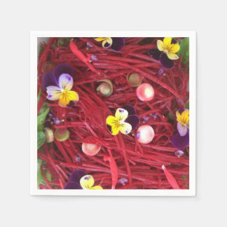 A colourful salad of flowers paper napkin