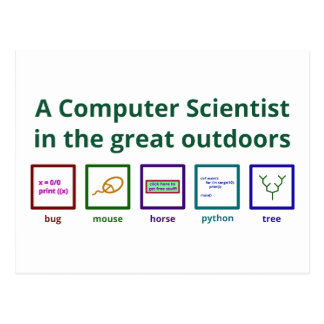 A computer scientist in the great outdoors postcard