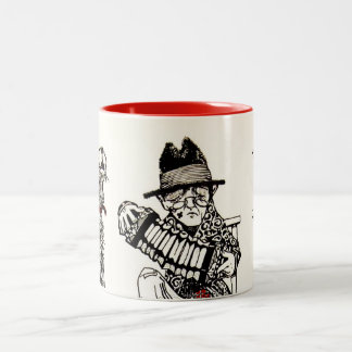 A Concert Party with Dog Crow Old Man Accordion Two-Tone Coffee Mug
