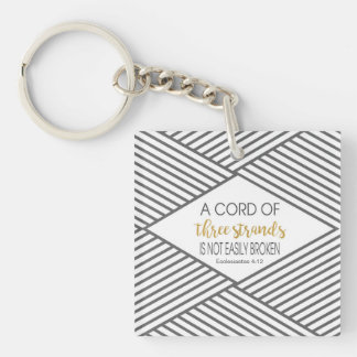 A cord of three strands is not easily broken Double-Sided square acrylic keychain