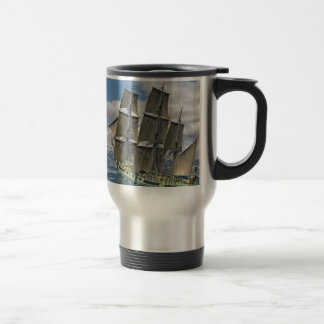 A Corvette ship Running Before the Wind Travel Mug