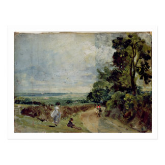 A Country road with trees and figures Postcard