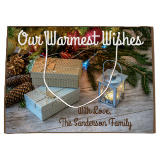 A Country Rustic Christmas w/Personalization Large Gift Bag
