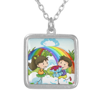 A couple dating near the rainbow silver plated necklace