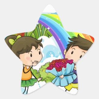 A couple dating near the rainbow star sticker