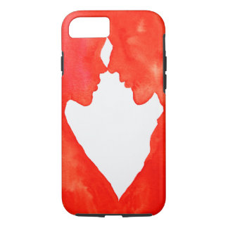 A couple in love heart shaped red and white iPhone 7 case