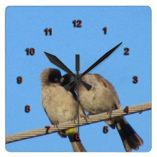A Couple of Bulbuls Clock