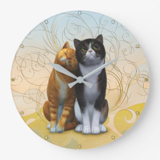 A couple of cats: love is in the air ? large clock
